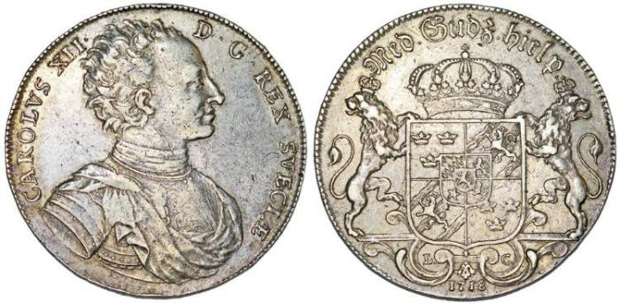 World Coins - Sweden. king Karl XII (1697–1718). AR Riksdaler 1718-LC. Choice VF. Rare!