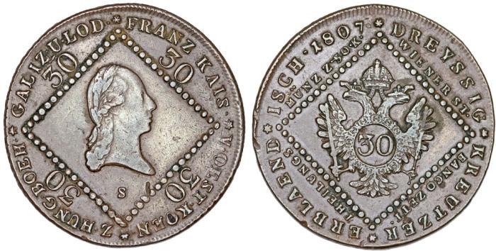 World Coins - Imperial Austria. Hungarian mint.  Franz I. AE 30 Kreuzer 1807 S. XF