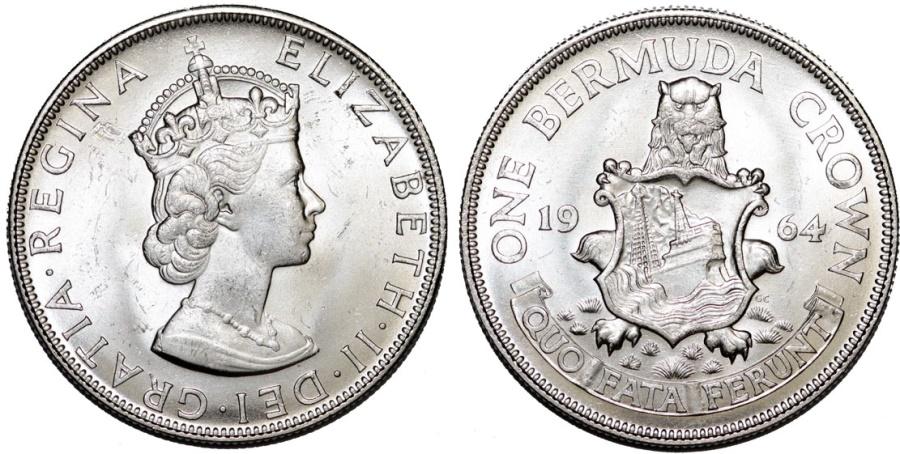 World Coins - Bermuda Islands. Queen Elizabeth II (1952- ). Commemorative Silver Crown 1964. Choice UNC