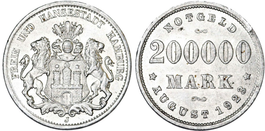 World Coins - Germany. Emergency Inflantion Coins. City of Hamburg. Al 200000 Marks 1923. AU/UNC