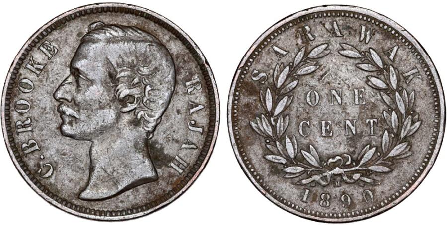 World Coins - Sarawak (North-West Borneo). Charles J. Brooke Rajah. AE Cent 1890H. XF