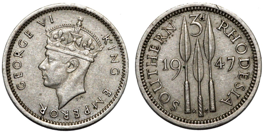 World Coins - Southern Rhodesia as British Colony. King George VI. CuNi 3 Pence 1947. Nice XF