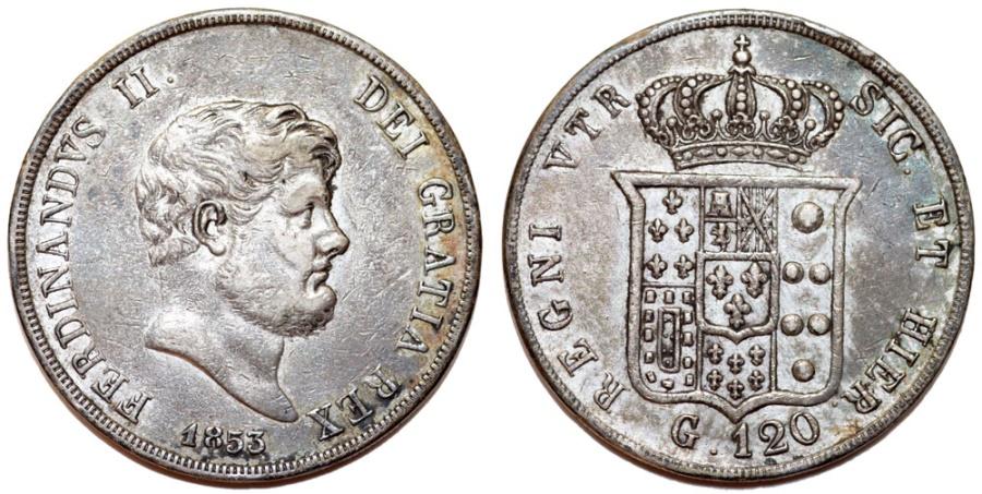 World Coins - Italy. Naples & Sicily. Francesco II (1830-1859). Silver 120 Grana 1853. XF