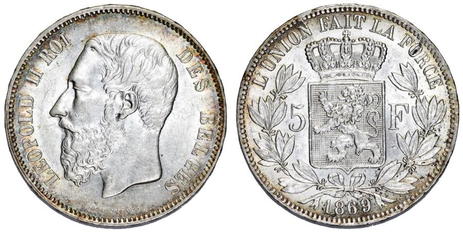 World Coins - Belgium. Leopold II (1865-1909). Silver 5 Francs 1869. Choice AU/UNC