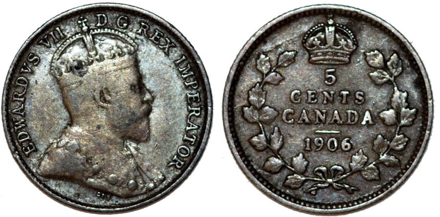 World Coins - Canada. Silver 5 Cents 1906.  VF, toned