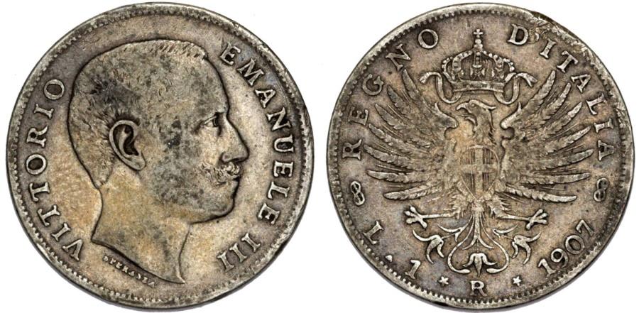 World Coins - Italy. Kingdom. Vittorio Emanuele III (1900-1946). Scarce AR 1 Lire 1907 R. aVF, toned.