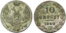 World Coins - Imperial Russia. Coinage for Poland. AR 10 Groszy 1840 MW. Nice AU, toned