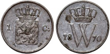 World Coins - Kingdom of Netherlands. Wilhelm III. AE 1 Cent 1870. Choice XF