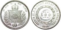 World Coins - Brazil. Republic. AR 500 Reis 1861 R. UNC