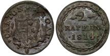 World Coins - Swiss Cantons: Aargau. BI 2 Rappen 1814. Unclean VF details