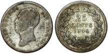 World Coins - Netherlands. king Wilhelm II (1840-1849). Silver 25 Cents 1848. Fine