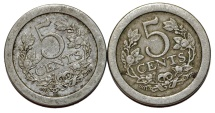 World Coins - Netherlands: Lot of 2 Coins: 5 cents 1907-1908. XF