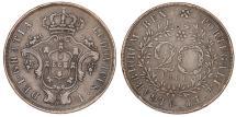 World Coins - Azores. Luiz I. CU 20 Reis 1866. XF/VF