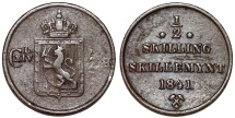 World Coins - Norway under Sweden. Karl XIV Johan (1818-1844). AE 1/2 Skilling 1841. VF