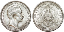 World Coins - Germany Empire. Prussia. Wilhelm II (1888-1918). Silver 3 Mark 1910 A. About XF