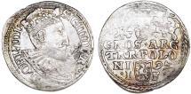 World Coins - Poland. Rzeczypospolita. Olkusz. king Sigismund III. AR 3 Gross 1597. About VF
