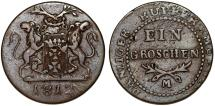 World Coins - City of Danzig. Napoleonic Wars. Scarce Cu 1 Gross 1812 M. Choice VF, toned
