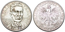 """World Coins - Poland. II Republic (1918-1939). Silver 10 Zloty """"Traugutt"""" 1933. AU"""