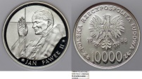 World Coins - Poland PRL. Commemorative Coin of Pope John Paul II. AR 10,000 zl. 1988. NGC PF67 UC!