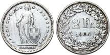 World Coins - Switzerland. Federation. AR 2 Franc 1904. aVF