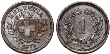 World Coins - Switzerland. Federation issue. AE 1 Rappen 1879 B. Choice XF, good date