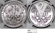 "World Coins - Poland. PRL (1945-1989) Aluminium 2 Zloty 1974 MW ""Fruits"" NGC AU58"