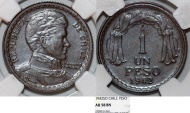 World Coins - Chile. Republic. CU 1 Peso 1942. NGC AU58 BN