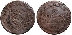 World Coins - Swiss Cantons. Thurgau. Cu 1/2 Batzen 1808. aVF, rare