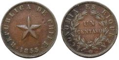 World Coins - Chile. Republic. CU 1 Centavo 1853. VF+