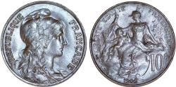 World Coins - France. Republic. AE 10 Centimes 1909. Good VF