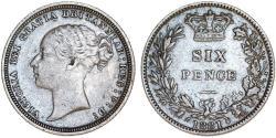 World Coins - Great Britain. Victoria. AR 6 Pence 1881. Choice VF