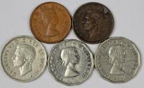 World Coins - Canada lot of 5 coins Cent to 5 Cents. VF-AU