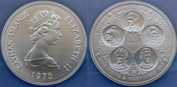 World Coins - Cayman Islands. Elizabeth II. LARGE Silver 50 Dollars 1975. Fve Queens. NGC MS69!