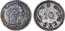 World Coins - Denmark. Christian IX. AR 10 Ore 1905. Bold VF, error mint