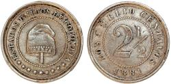 World Coins - Colombia. Republic. CU-NI 2 1/2 Centavos 1881. XF