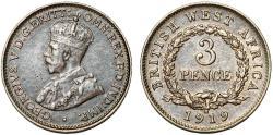 World Coins - British West Africa. Geroge V. AR 3 Pence 1919H. Choice XF/AU