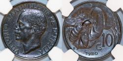 World Coins - Italy. Vittorio Emanuele III. BRZ 10 Centesimos 1920. NGC AU58 BN!