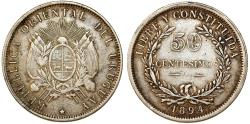 World Coins - Uruguay. Republic. AR 50 Centesimos 1894. Choice VF, lightly toned.