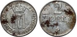 World Coins - Norway. Hakon VII (1907-1952-1907). Steel 2 Ore 1919. VF, rare