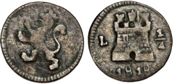 World Coins - Peru. Spanish Rule. AR 1/4 Real 1818 L. aVF , scarce