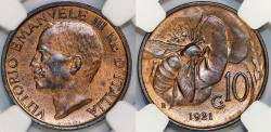 World Coins - Italy. Vittorio Emanuele III. BRZ 10 Centesimos 1921. NGC MS64 RB