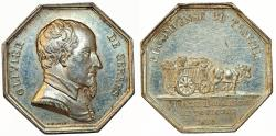 "World Coins - France ""AGRICULTURAL, HORTICULTURAL, FISHING AND HUNTING SOCIETIES TOULOUSE"". Silver Jeton 1825. AU"