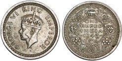 World Coins - British India. George VI (1936-1952). Silver Rupee 1945. XF+