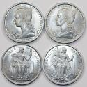 World Coins - French Colonisl Issues: Lot of 4 Al 2 Francs 1948-1977, Choice UNC