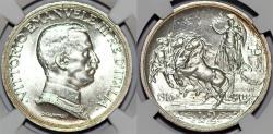 World Coins - Italy. Kingdom. Vittorio Emanuele III (1900-1946). AR 2 Lire 1916 R. NGC MS63+!