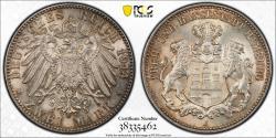 World Coins - Germany. City of Hamburg. AR 3 Mark 1914-J. NGC MS65!