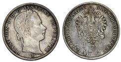 World Coins - Austria. Franz Joseph I. AR 1/4 Florin 1859. AVF