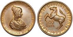 World Coins - Germany. Emergency Coins. Westfalia of Weimar Republic. AE 500 Mark 1923. Choice BU