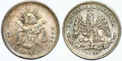World Coins - Republic of Mexico. AR 25 Centavos 1882 Zs-S. Toned Choice VF
