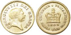 World Coins - Great Britain. king George III. Gold 1/3 Guinea 1809. Good XF